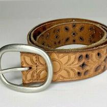 Fossil Women's Laser Cut Tan Leather Belt Sz M Medium Photo