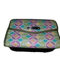 Fossil Women's Leather Trifold Wallet White Green Pink Floral  Vintage Photo