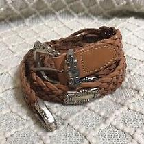 Fossil Womens Light Brown Leather Woven Braided Silver Buckle Belt Sz M/western Photo