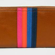 Fossil Women's Logan Rfid Zip Around Clutch Wallet Kb8 Colorful Stripes Small Photo