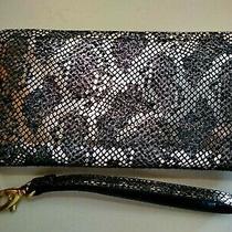 Fossil Women's Logan Zip Around Wristlet Wallet Leather Rfid Silver Metallic  Photo