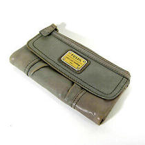 Fossil Women's Long Live Vintage Olive Green Clutch Leather  Wallet  Sale Photo