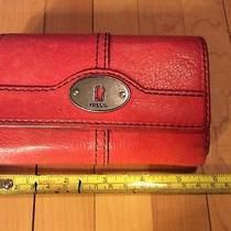 Fossil Women's Maddox Coral  Leather Trifold Wallet Used Condition Photo