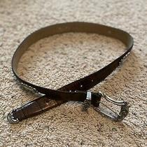 Fossil Womens Medium Genuine Leather Belt Croco Embossed Cowhide Silver Photo