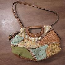 Fossil Women's Multi-Color Canvas Wood Handle Purse Handbag Photo