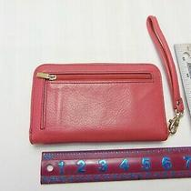 Fossil Women's Pink Leather Wallet Clutch Wristlet Purse Bag Size Medium Photo