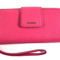 Fossil Women's Pink Leather Wallet Clutch Wristlet Purse Zipper Snap Closure Photo