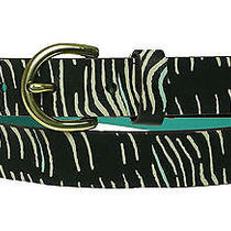 Fossil Women's Printed Zebra Print Black White Belt Size Large Photo