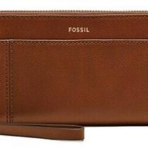 Fossil Women's Rea Zip Clutch Wristlet Wallet Brown Leather- Brand New Photo