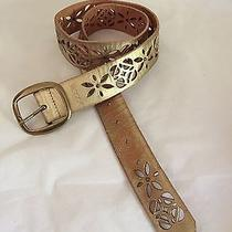 Fossil Women's S Leather Signature Perforated Gold Belt Fits 31-34