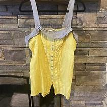 Fossil Womens Size Large Sleeveless Tank Top Blouse Yellow & Grey Adjustable  Photo