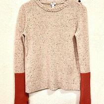 Fossil Women's Size M Pink Color Block Wool Mixed Pullover Knit Sweater Photo