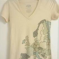 Fossil Women's Size Xs Short Sleeve T Shirt Graphic Tee World Print Crewneck Photo