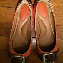 Fossil Women's Slip Ons Flats Shoes Buckle Ballet Orange & Brown Leather Size 8m Photo