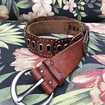 Fossil Women's Small Brown Tooled Stitched Studded Leather Belt Photo