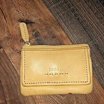 Fossil Womens Small Yellow Leather  Zip Id Window Card Case Key Ring Photo