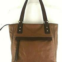 Fossil Women's Soft Textured Leather Tote Shopper Shoulder Bag 2 Tone Brown  Photo
