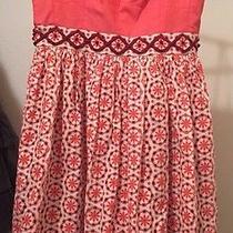 Fossil Women's Spaghetti Strap Eyelet Red Orange Dress Nwot Lined 10 Photo