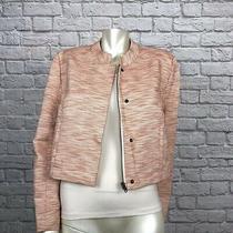 Fossil Women's Sz 12 Crop Blazer Jacket Orange/beige Tweed Full Zip Snap Buttons Photo
