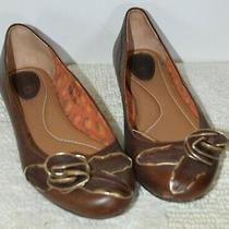 Fossil Women's Sz 8 Brown Gold Trimmed 3d Flower Slip on Flats Shoe Photo