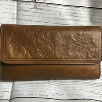 Fossil Women's Tan Embossed Leather Trifold Wallet Clutch Medium Photo