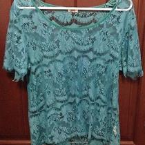 Fossil Women's Teal Lace Short Sleeve Shirt Small Photo