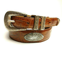 Fossil Women's Textured Leather Concho Belt Sz S Brown Double Wrap D-Ring Buckle Photo