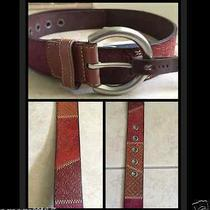 Fossil Women's Textured Patchwork Multi Color Leather Tooled Belt Sz M 36 New Photo