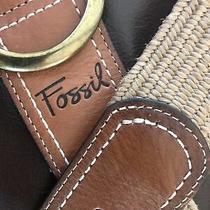 Fossil Women's Textured Stretch Leather Waist Belt Brown Size Medium Photo