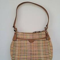 Fossil Women's Vintage 75082 Colorful Straw Shoulder Bag Tote Purse  Photo