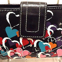 Fossil Women's Wallet Black Hearts Leather Large Bifold Style Checkbook Photo