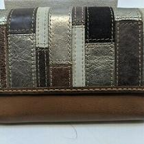 Fossil Women's Wallet Brown Metallic Leather Medium Trifold Clutch French  Photo