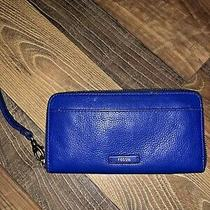 Fossil Women's Wallet Clutch Midnight Navy Pebbled Leather Zip Around Photo