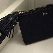 Fossil Women's Wristlet Wallet Genuine Grain Leather Tara Wallet Black Nwt 65 Photo