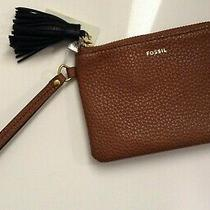Fossil Women's Wristlet Wallet Genuine Grain Leather Tara Wallet Brown Nwt 65 Photo