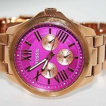 Fossil Women Watch Am4549 Multifunction Cecile Rose Gold Orchid Pink Dial 145 Photo