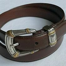 Fossil Womens Belt Size Medium Genuine Leather Brown Two Tone Buckle Silver/gold Photo