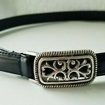 Fossil Womens Black Leather Belt Sz. Large Silver Tone Square Scroll Buckle Photo