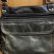 Fossil Womens Black Leather Purse/organizer/zip Out Wallet Crossbody  Photo