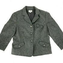 Fossil Womens Blazer Jacket Coat Gray Medium Wool Career Pockets Schoolboy 6 Photo