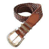 Fossil Womens Brown Braided Genuine Leather Belt Size M Medium Adjustable Boho Photo