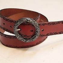 Fossil Womens Brown Floral Leather Belt Sz Small Photo
