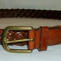 Fossil Womens Brown Genuine Leather Braided Belt Xl Photo