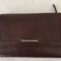Fossil Womens Brown Leather Tri-Fold Wallet  Zip Coin Pouch 5.5 X 4 Snap Closure Photo