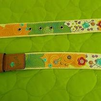 Fossil Womens Cloth Fabric Canvas Floral Belt  M/l.  Very Spring Photo