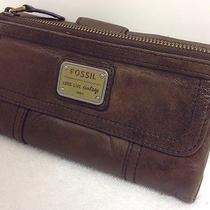 Fossil Womens Emory Brown Leather Organizational Clutch Wallet Photo
