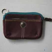 Fossil Womens Genuine Leather Burgundy Teal Key Ring Coin Purse Pouch   Photo