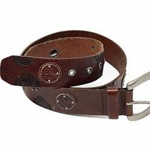 Fossil Womens Leather Belt Brown Medium Cowhide Embossed Conchos Grommets Photo