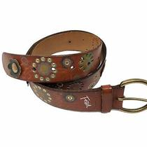 Fossil Womens Leather Belt Brown Medium Flowers Grommets Punched  Photo