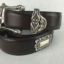 Fossil Womens Leather Belt Brown Square Conchos 43